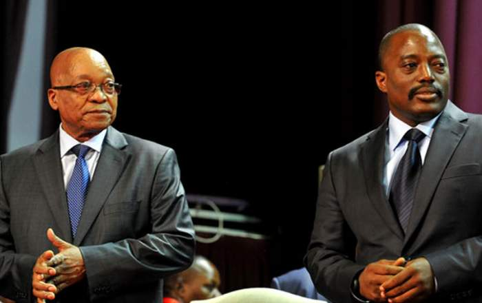 President Jacob Zuma with Congolese President Joseph Kabila at the People's Palace in Kinshasa. (Photo: GCIS)