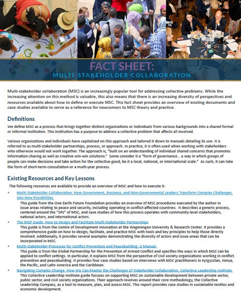 Multi-stakeholder Collaboration Fact Sheet